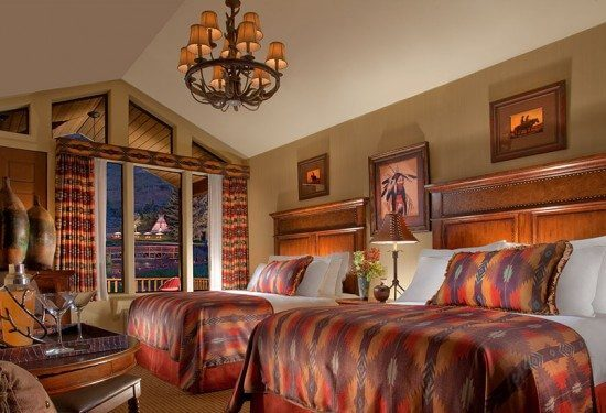 Luxury mountain double guest rooms at the Rustic Inn in Jackson, WY
