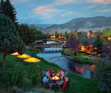 Summer nights by the river at our Jackson Hole hotel